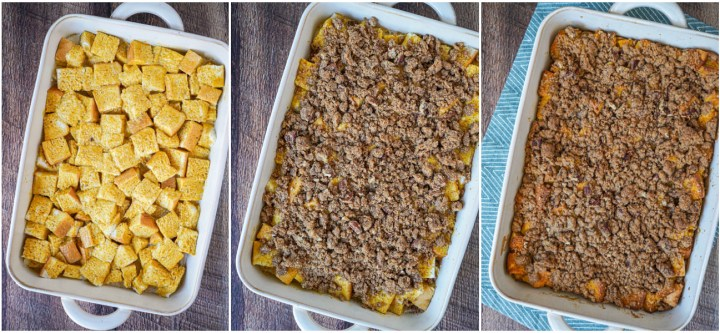 Assembling Pumpkin French Toast Casserole with bread slices, streusel, and baking until golden.