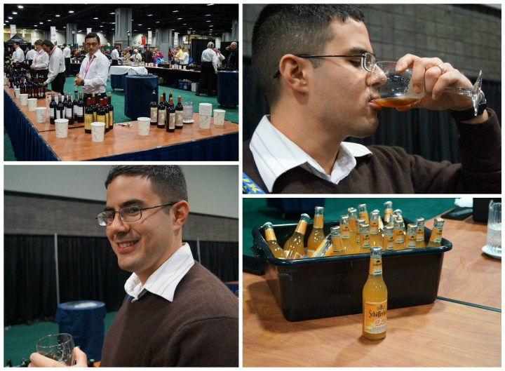 Taste testing at the Beer, Wine, and Spirit Pavilion.