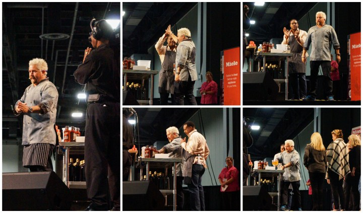 Guy Fieri performing a cooking demonstration.