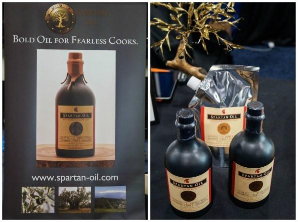 Black jars of olive oil from Spartan Oil.