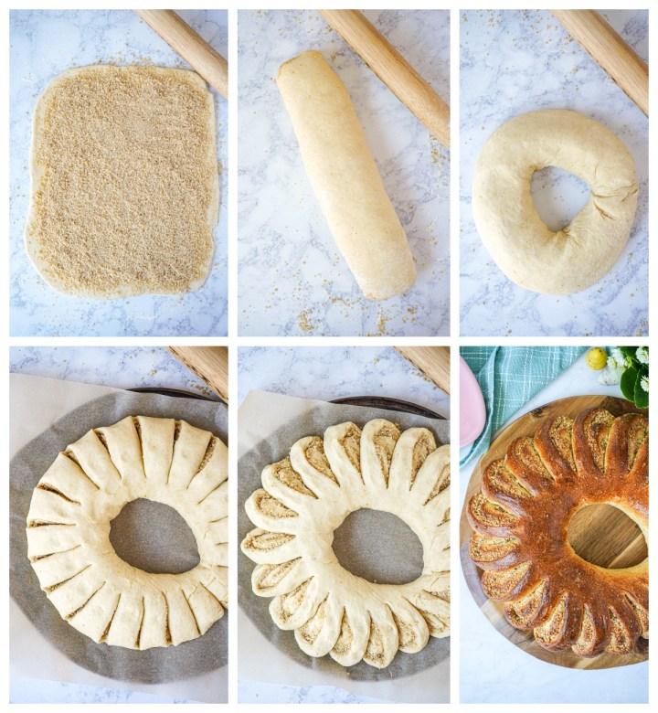 Forming the Húsvéti Kalácskoszorú (Hungarian Easter Wreath)- rolling up dough and cutting into slices.