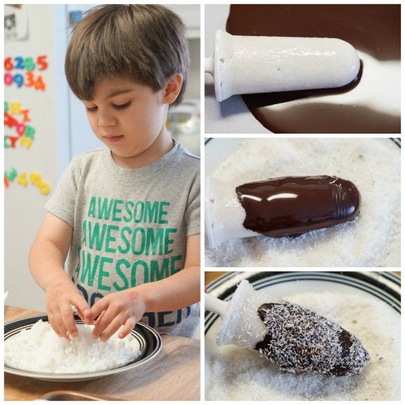 Coating the Esquimos in chocolate and coating in coconut flakes.