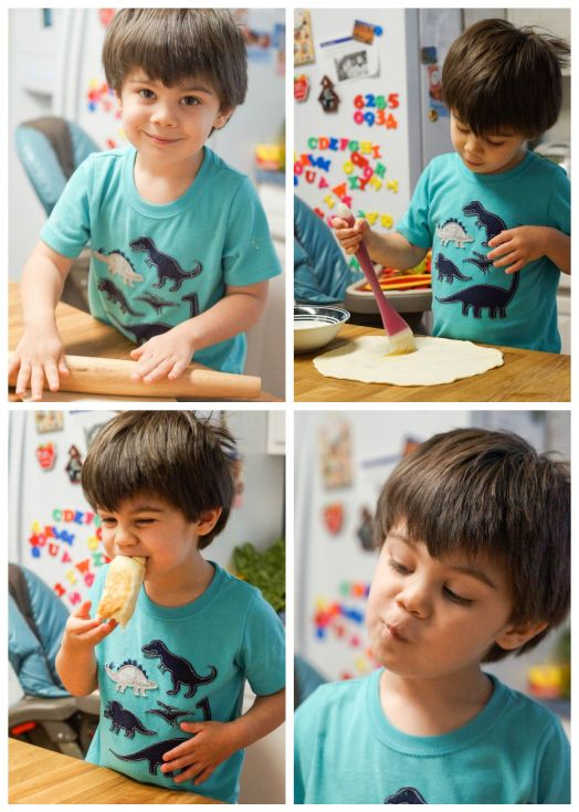 Boy rolling out Msemen (Moroccan Square Flatbread) and eating a piece.