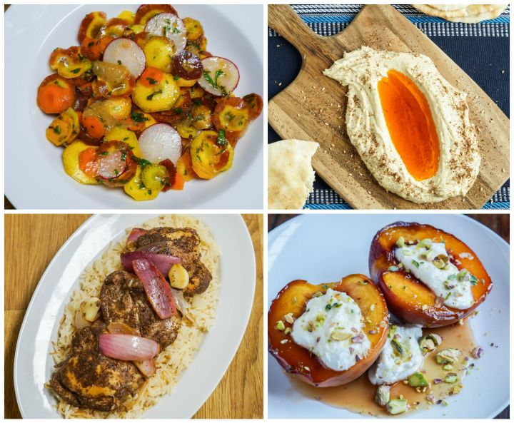 Other dishes from The New Mediterranean Table: Carrot Salad with Grapefruit and Charmoula, Hummus with Caramelized Paprika Butter and Za'atar, Roasted Chicken with Sumac and Onions, and Roasted Peaches with Goat Cheese and Pistachios.