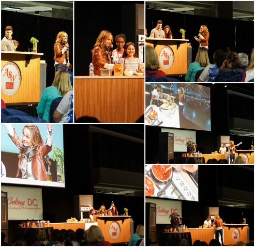 Giada de Laurentiis performing a cooking demonstration and talking to a crowd of people.
