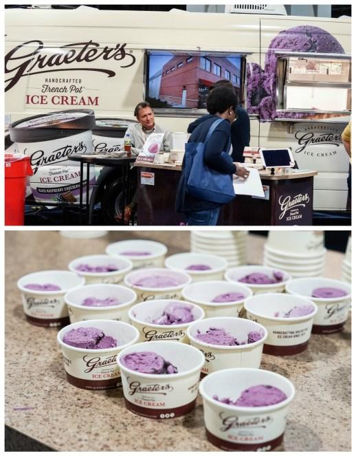 Purple ice cream in small paper cups at Graeter's Ice Cream.