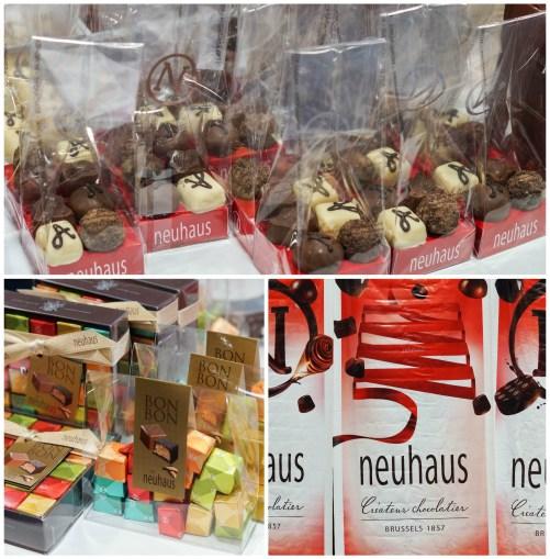 Chocolates arranged in gift bags at Neuhaus.