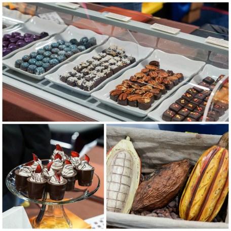 Chocolates on display at SPAGnVOLA Chocolatier.