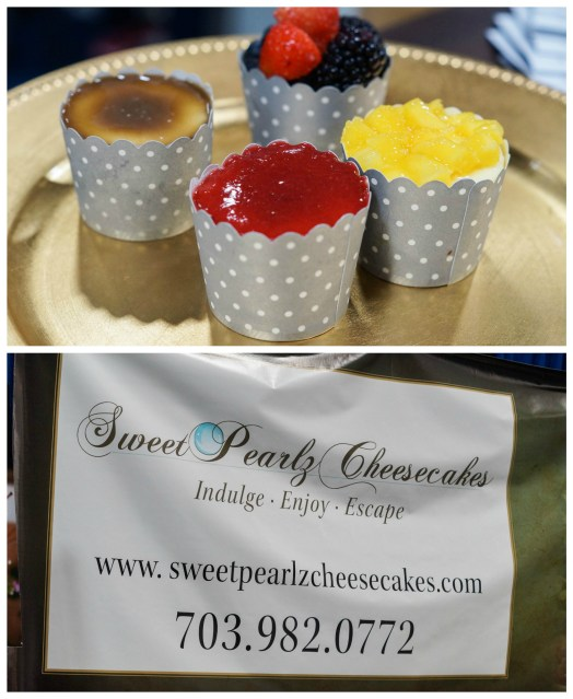 Cheesecakes with different toppings (berry, creme brûlée, and pineapple) at Sweet Pearlz Cheesecakes.