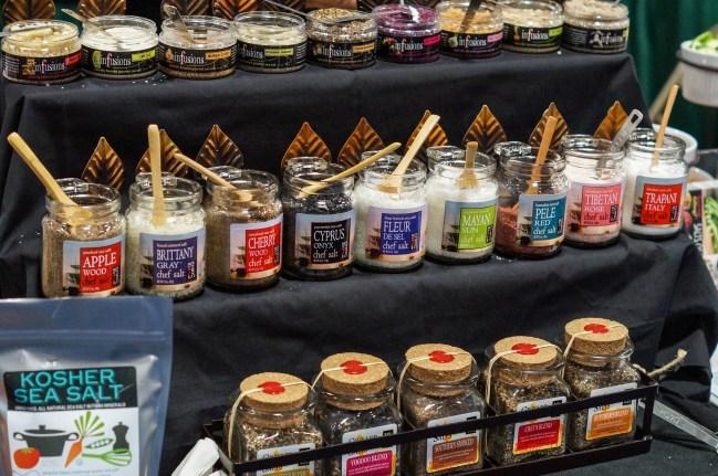Jars of spices on display at Salt of the 7 Seas.