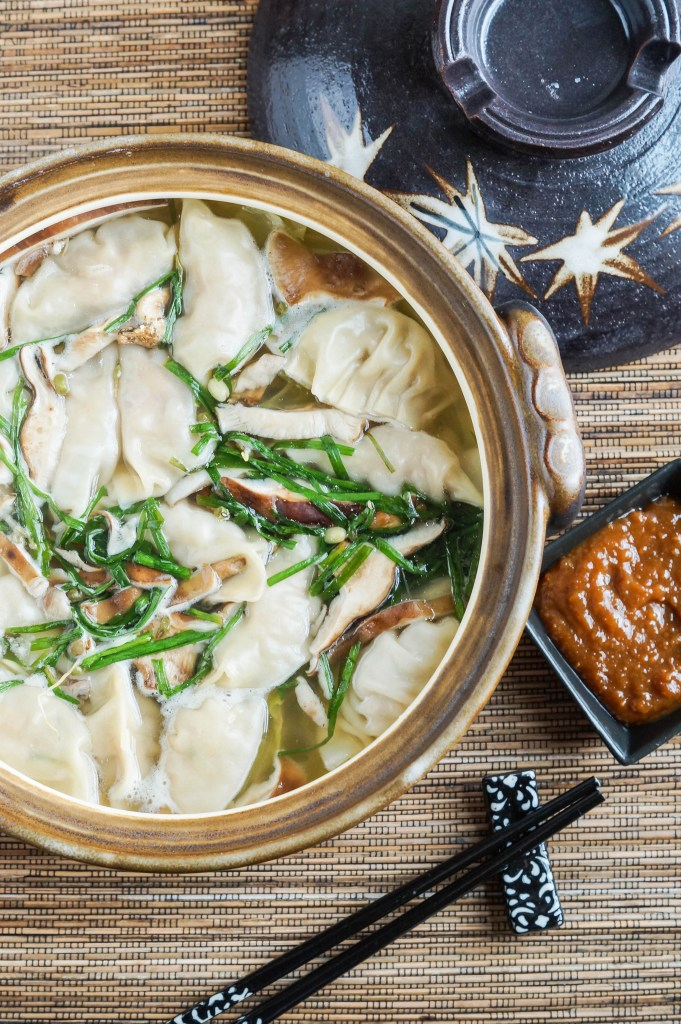 Gyoza Nabe (Japanese Dumpling Hot Pot) with dipping sauce