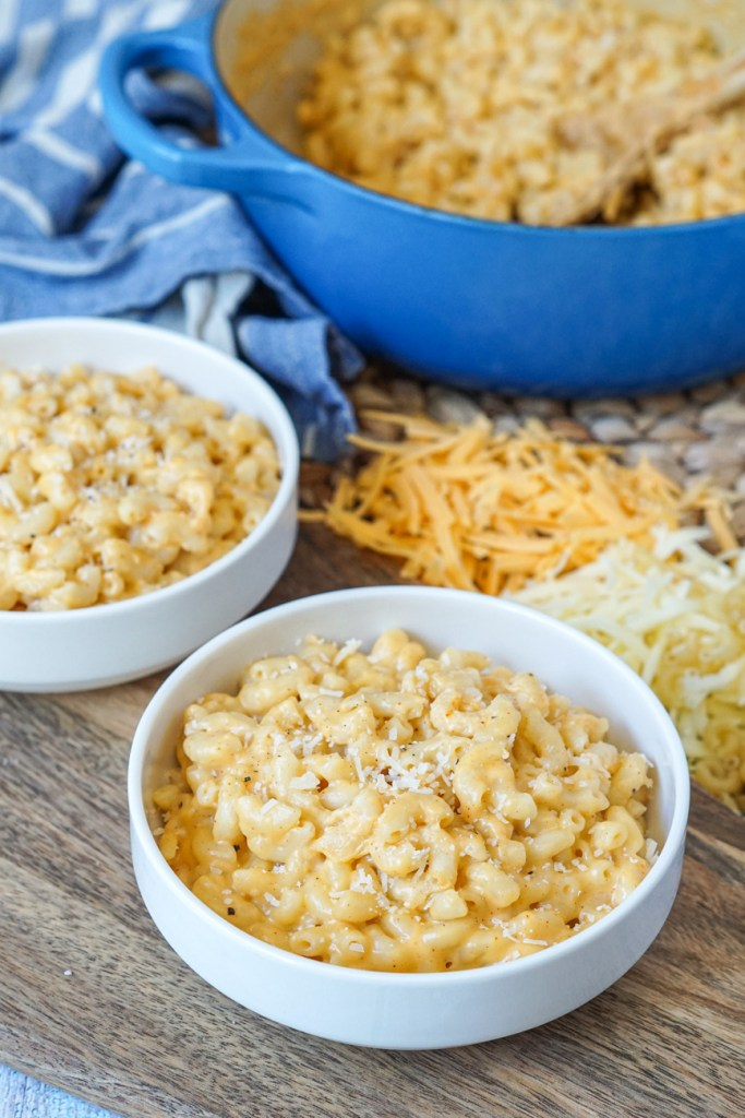 Stove Top Macaroni and Cheese topped with paprika and parmesan