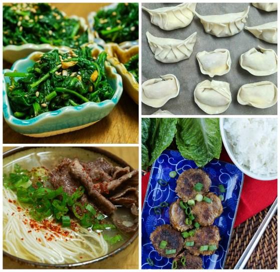 Sigeumchi Muchim (Soy and Sesame Spinach), Butter Mandu (Butter Dumplings), Seolleongtang (Beef Bone Noodle Soup), and Kalbi Meatballs.