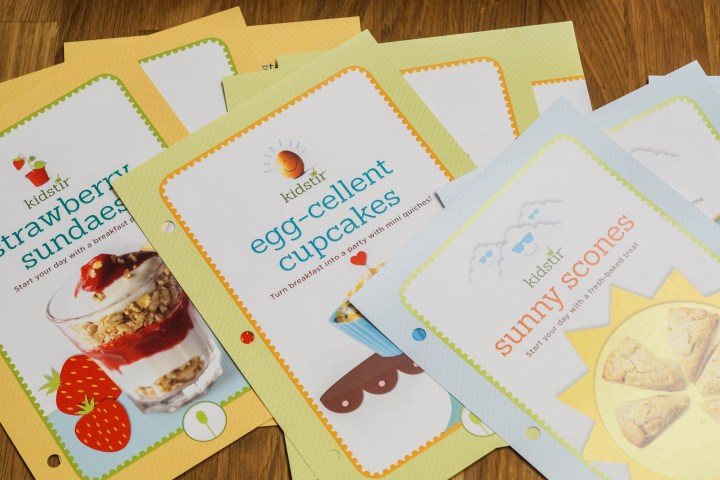 Recipes inside the Kidstir Hello, Breakfast Box: Strawberry Sundaes, Egg-Cellent Cupcakes, and Sunny Scones.
