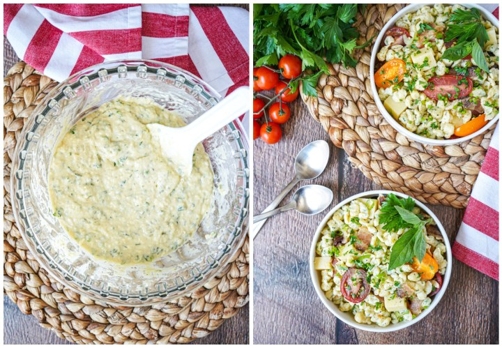 Two photo collage- spätzle dough in a glass bowl and Spätzlesalat in two white bowls.