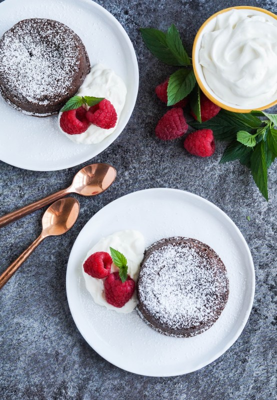 Molten Lava Cake with raspberries and mint
