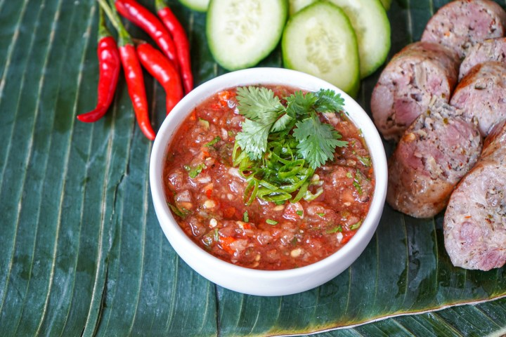 Jeow Mak Len (Lao Tomato Dipping Sauce) in a white bowl.