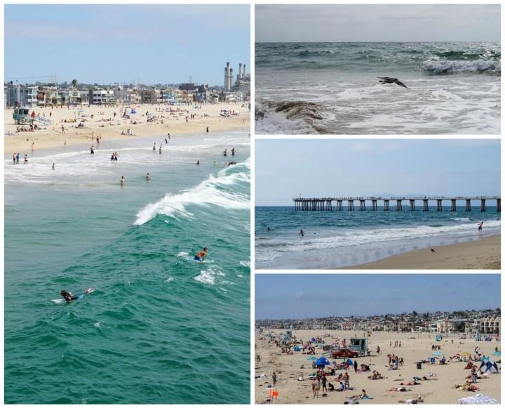 The ocean at Hermosa Beach- people sunbathing, surfing in the water.