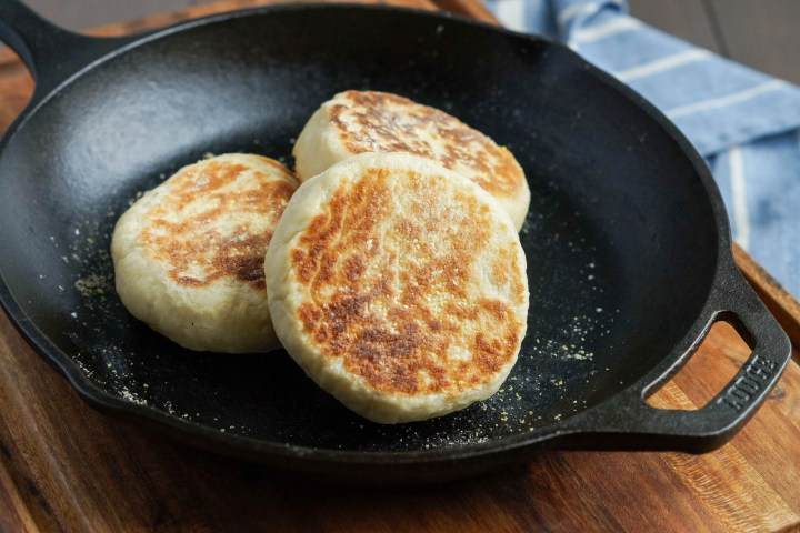 English Muffins in a cast iron skillet