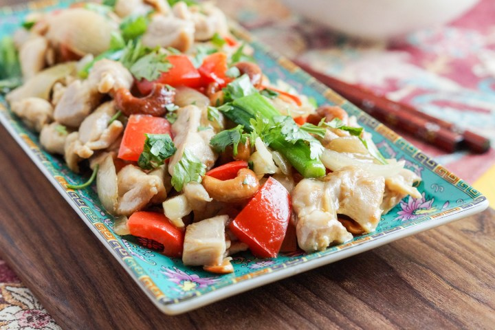 Chicken with Cashew Nuts topped with cilantro