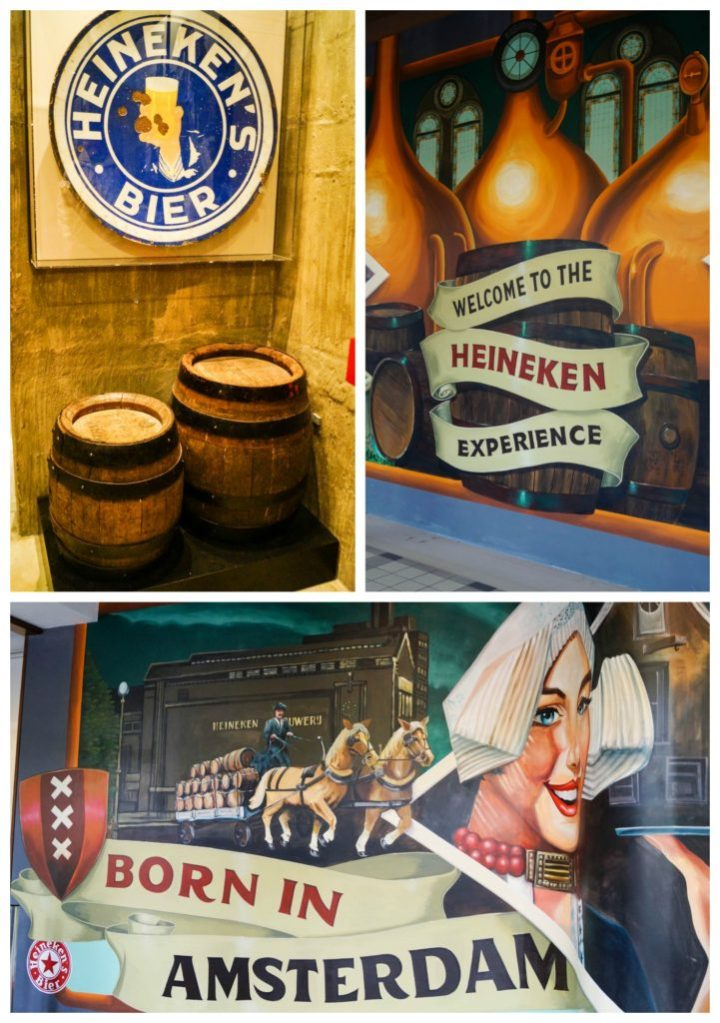 Paintings inside The Heineken Experience with barrels and Heineken's Bier sign, welcome to the Heineken experience, and born in Amsterdam.