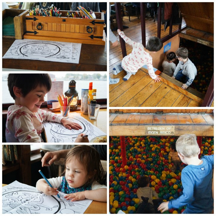 Coloring pages and ball pit on De Pannenkoekenboot.