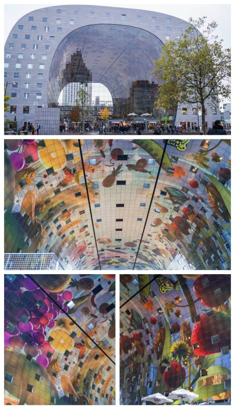 Large mural inside Markthal with fruits and vegetables painting in panels on the ceiling