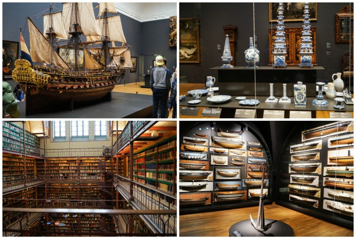 Replicas of ships, pottery, and tall bookshelves at Rijksmuseum