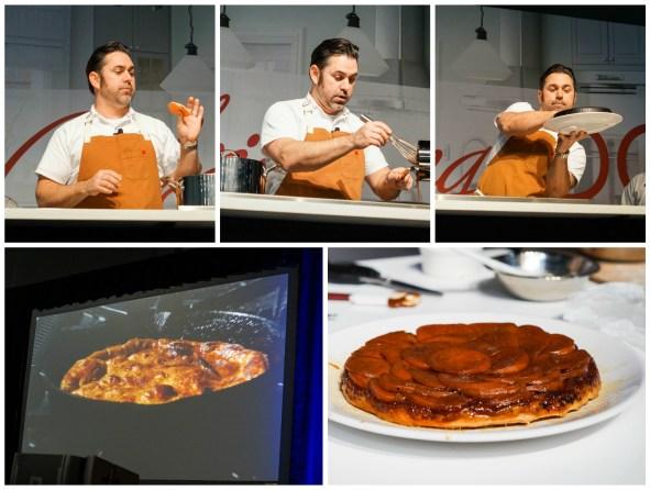 David Guas making a sweet potato tart tartin.