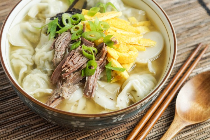 Duk Mandu Guk (Korean Rice Cake and Dumpling Soup)