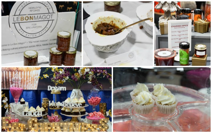 Le Bon Magot and Inspired Cravings booths at MetroCooking DC with spices and cupcakes on display.