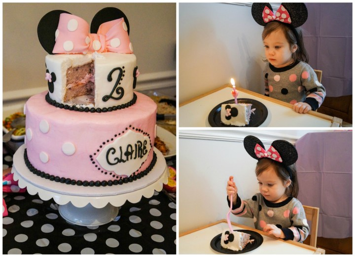 Eating a slice of the Minnie Mouse cake.