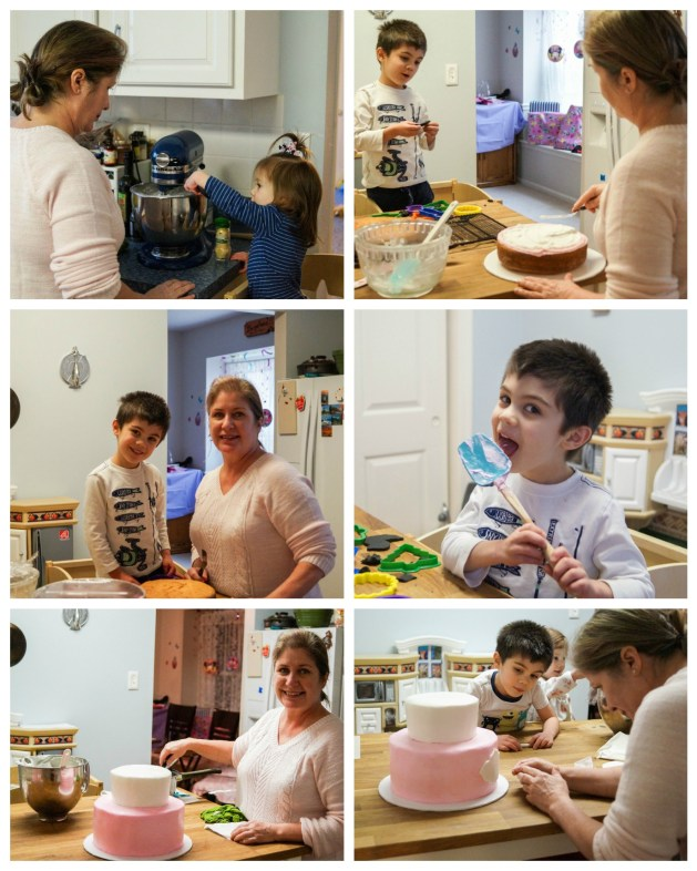 Making the Minnie Mouse Birthday cake- mixing the frosting and decorating the cake.