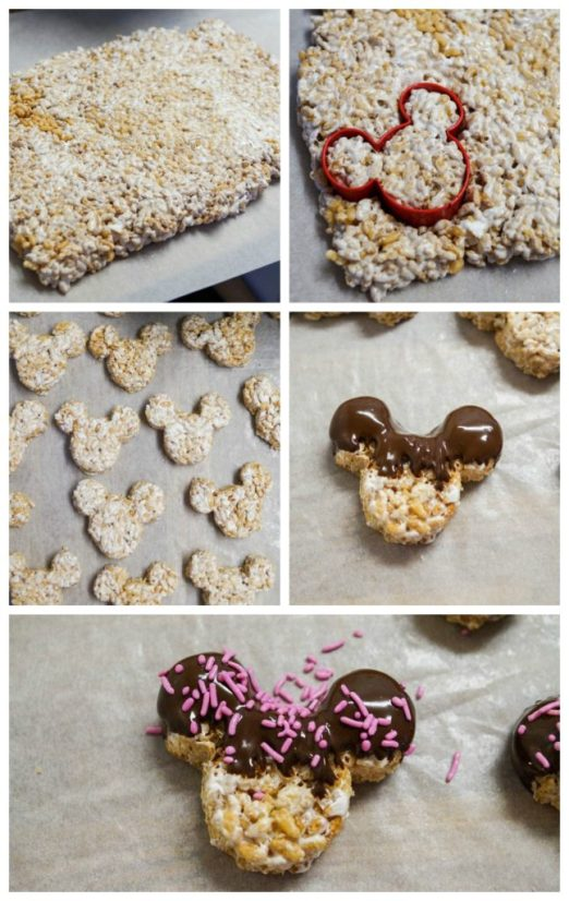Cutting a sheet of Rice Krispies Treats into Minnie Mouse Ears and coating in chocolate.