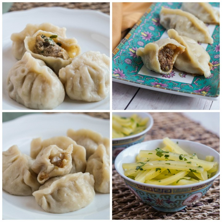 Other dishes from The Dumpling Galaxy Cookbook-Pork and Chive Dumplings, Curry Beef Dumplings, Eight Treasures Dumplings, and Shredded Potato Salad.