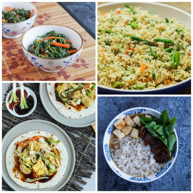 """Other Dishes from Farm to Table Asian Secrets: Blanched Baby Spinach with Sesame Sauce, Spring Fried Rice with Asparagus and Cilantro, Mushu Vegetable """"Burritos,"""" and Warming Vegetable Pho."""