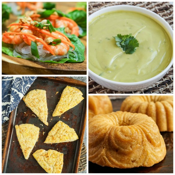 Other dishes from the Coconut. Ginger. Shrimp. Rum. cookbook- Shrimp, Ginger, and Scallion Lettuce Wraps; Avocado Coconut Cream Soup; English Coconut Scones; and Rum Laced Bundt Cake.