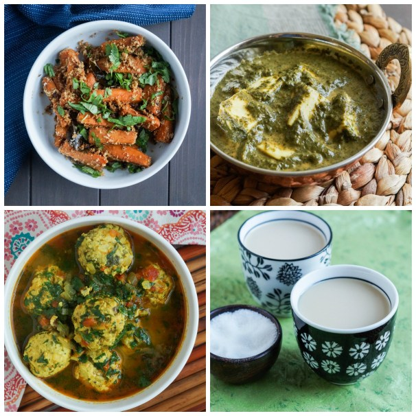Other dishes from The Cafe Spice Cookbook- Shakkar Kandi aur Nariyal ki Subzi (Pan-Roasted Sweet Potatoes with Coconut), Palak Paneer (Paneer with Creamed Spinach), Kofta Murg Masala (Curried Chicken Meatball), and The Perfect Chai.