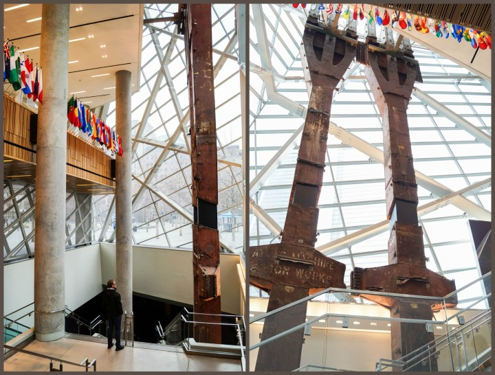 Flags and Tridents inside the entrance to the 9/11 Memorial & Museum.
