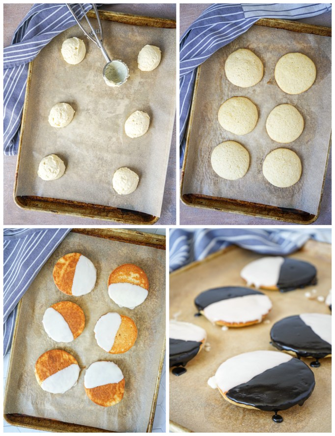 Scooping the dough, baking, and glazing Black and White Cookies.