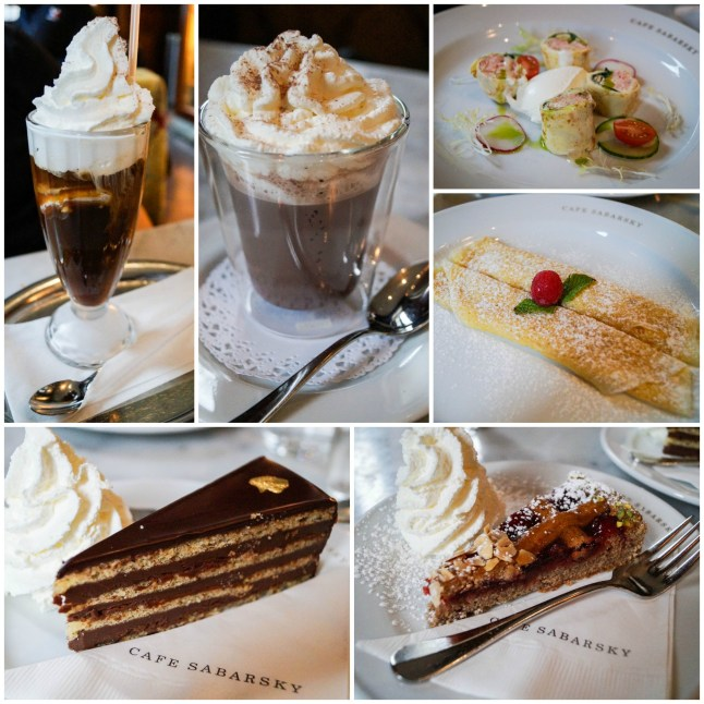 Coffee, hot chocolate, crepes, and cake from Café Sabarsky.