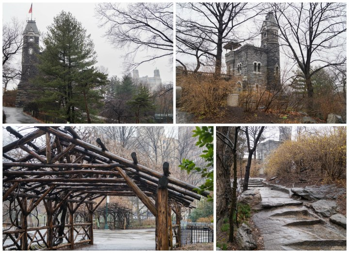 Stone castle and wooden bridge in Central Park.