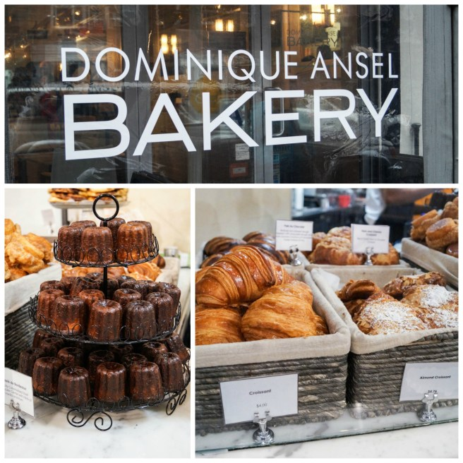 Entrance to Dominique Ansel Bakery and pastries on display.
