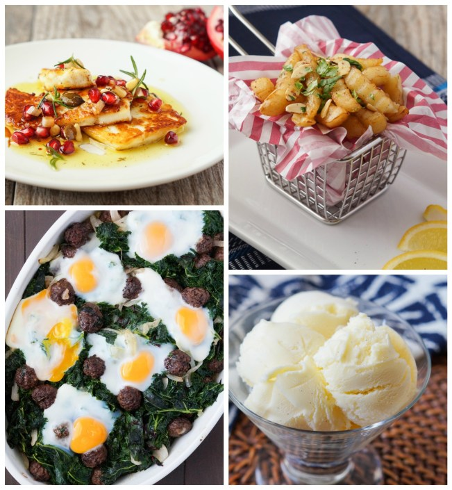 Other recipes from East/West: Grilled Haloumi with Pomegranate and Sumac Dressing; Spicy Dahlia Fries; Wild Greens with Sucuk Balls and Eggs; and Cordoba Olive Oil Ice Cream.
