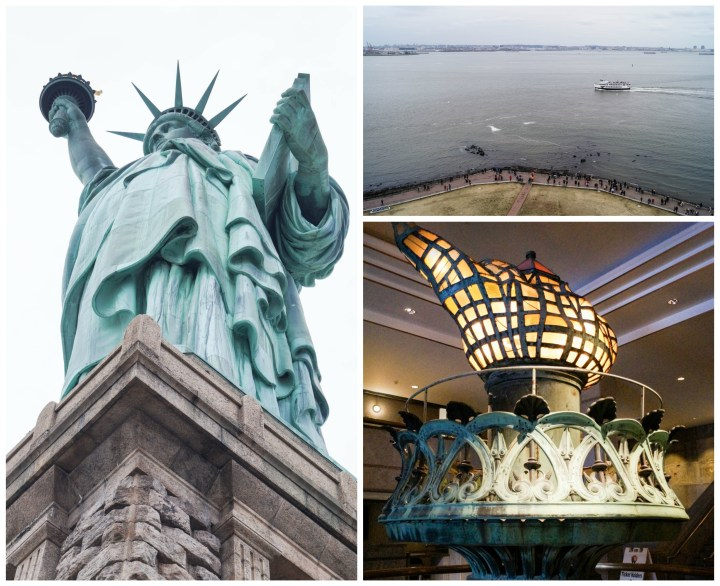 Looking up at the Statue of Liberty, view down to the water, and the torch.