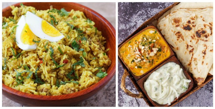 Regional Indian Cooking Other Dishes: Kheema Pullao (Lamb Pulao), Gajjar Chi Koshumbiri (Carrot and Roast Peanut Relish), Malai Korma (Rich Tomatoes with Cashew Nuts), and Pyaaz-Ka-Raita (Onion Raita).