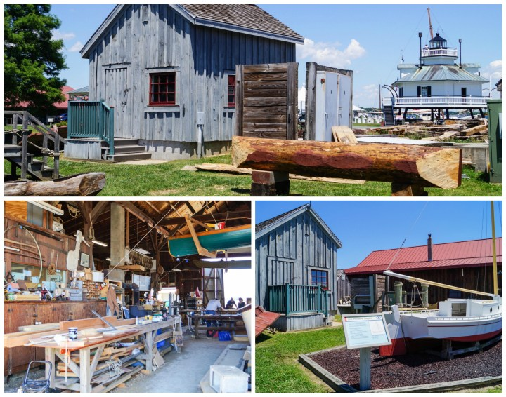Wooden buildings and boats at the Chesapeake Bay Maritime Museum.