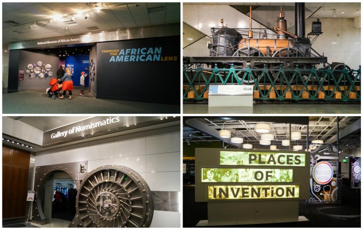 Exhibits inside the Smithsonian National Museum of American History: Through the African American Lens, a large locomotive, Gallery of Numismatics with a vault door entrance, and Places of Invention