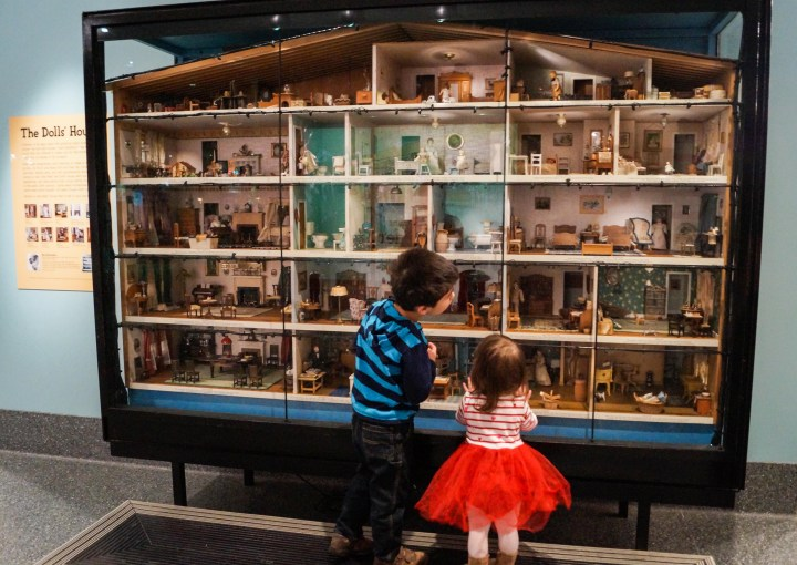 Detailed view inside a dollhouse with 23 rooms at the Smithsonian National Museum of American History