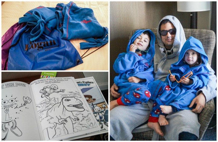 Blue robes and coloring books for kids.